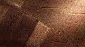 Картина воздушного фотографирования на сезоне сбора конспекта фермы мозоли поля земли Стоковые Изображения RF