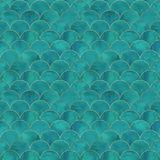 Картина волны масштаба рыб русалки японская безшовная стоковые фото