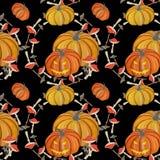 Картина волшебной тыквы гуаши безшовная иллюстрация штока