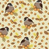 Картина воробьев и жолудей безшовная бесплатная иллюстрация