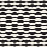 Картина волнистого вектора нашивок безшовная Ретро волнистая текстура Геометрические линии monochrome дизайн Стоковые Изображения RF