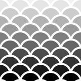Картина волны тени Seigaiha японская безшовная черно-белая для предпосылки, обоев, текстуры, сети, блога, печати или графика Иллюстрация вектора