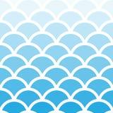 Картина волны традиционного aqua Seigaiha японского безшовного голубая Иллюстрация вектора