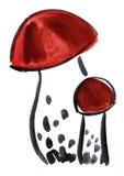Картина впечатления гриба акварели Стоковая Фотография RF