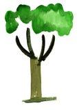 Картина впечатления дерева акварели иллюстрация штока