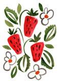 Картина впечатления клубники ягоды акварели Стоковые Изображения RF