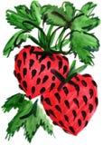 Картина впечатления клубники ягоды акварели Стоковая Фотография