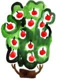 Картина впечатления яблони акварели иллюстрация вектора