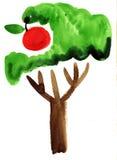 Картина впечатления яблони акварели Стоковое Фото