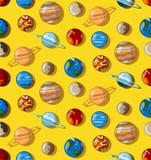 Картина вселенной планет плоская Стоковые Фото