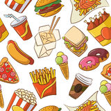 Картина высококалорийной вредной пищи безшовная Стоковые Фотографии RF