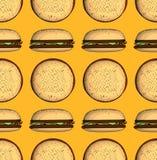 Картина высококалорийной вредной пищи безшовная с гамбургером Стоковое Изображение RF