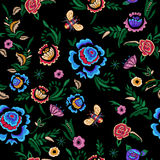 Картина вышивки безшовная с фантазией упрощает цветки Стоковое Фото