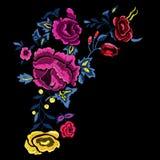Картина вышивки ботаническая фольклорная с розовыми и желтыми розами Стоковые Изображения RF