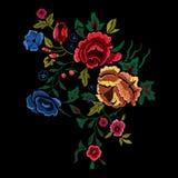 Картина вышивки ботаническая фольклорная с красными и голубыми розами Стоковое Изображение RF