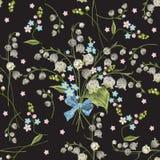 Картина вышивки красочная безшовная с лилиями Стоковые Фото
