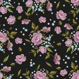 Картина вышивки красочная безшовная с розами и забывает меня n Стоковое фото RF