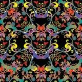 Картина вышивки красочная флористическая безшовная Bac вектора гобелена Стоковое Изображение RF