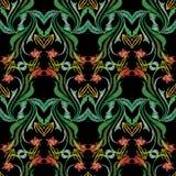Картина вышивки красочная флористическая безшовная Bac вектора гобелена Стоковое фото RF