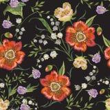 Картина вышивки красочная флористическая безшовная с маками Стоковое Изображение