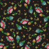 Картина вышивки красочная этническая флористическая безшовная с сердцами Стоковые Изображения RF