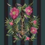 Картина вышивки морская с экзотическими цветками и анкером Стоковое Изображение
