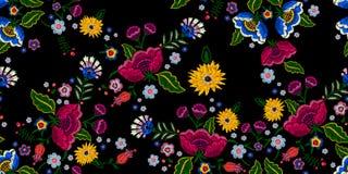 Картина вышивки родная безшовная с упрощает цветки Стоковые Изображения RF
