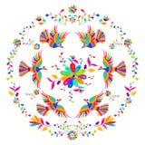 Картина вышивки стиля Otomi мексиканца вектора фольклорная Фольклорный орнамент вышивки Стоковые Изображения RF