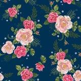 Картина вышивки традиционная безшовная с розовыми розами Стоковое Изображение