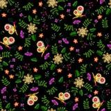 Картина вышивки упрощенная ребенком этническая флористическая безшовная Стоковое фото RF