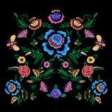 Картина вышивки фольклорная с цветками фантазии Стоковые Изображения