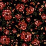 Картина вышивки этническая безшовная с красными розами Стоковая Фотография