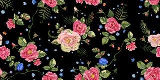Картина вышивки этническая безшовная с розами Стоковое Изображение RF