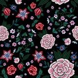 Картина вышивки этническая безшовная с упрощает цветки Стоковое Фото
