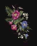 Картина вышивки этническая с экзотическими цветками Стоковая Фотография