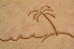 Картина в песке - ладони и море Стоковое фото RF