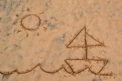 Картина в песке - корабль и солнце Стоковое Изображение