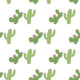 Картина геометрических зеленых кактусов вектора безшовная стоковые изображения