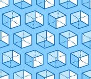 Картина геометрических форм безшовная с плоской линией значками диаграммы куба Современная абстрактная предпосылка для геометрии, иллюстрация вектора