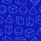 Картина геометрических форм безшовная с плоской линией значками Современная абстрактная предпосылка для геометрии, образования ма иллюстрация штока