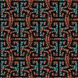 Картина геометрического меандра безшовная с племенными ornamens иллюстрация вектора