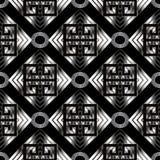 Картина геометрического меандра безшовная Черное abstra геометрии вектора Стоковое Изображение RF