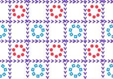 Картина геометрического орнамента безшовная от решетки В клетках цветки Лепестки форма сердец и кругов иллюстрация вектора
