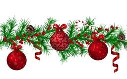 Картина гирлянды ели рождества безшовная, красные металлические сияющие шарики рождества и ленты, конусы, тросточка конфеты, крас иллюстрация вектора