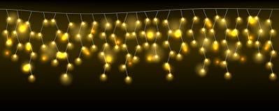 Картина гирлянды рождества светлая в темноте бесплатная иллюстрация