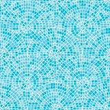 Картина голубой абстрактной мозаики безшовная Части круга клали вне от trencadis плиток Предпосылка вектора иллюстрация вектора