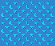Картина голубых лун и звезд Стоковые Изображения