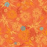 картина голубых флористических цветков померанцовая безшовная Стоковые Изображения