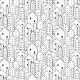 Картина города безшовная в черно-белом повторяющийся текстура иллюстрация вектора