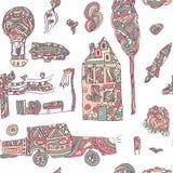 Картина городка Doodle нарисованная рукой безшовная Пастельные абстрактные обои Иллюстрация вектора для вашего милого дизайна Стоковые Изображения RF